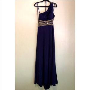 Formal women's one shoulder bead trim floor gown